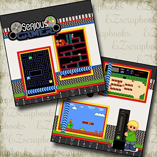 SERIOUS GAMER BOY - Premade Scrapbook Pages - EZ Layout 151