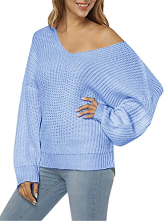 Womens Off Shoulder Sweaters Oversized Loose Long Sleeve Knit V Neck  Pullover Sweater Tunic Tops at Amazon Women s Clothing store  6d5c956b5