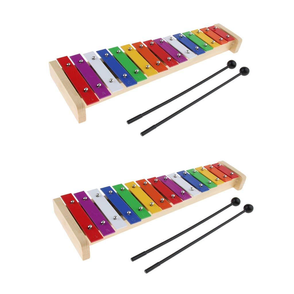 2Pcs Durable Wooden 15-note Xylophone Hand Percussion Mini Glockenspiel Set by Gazechimp