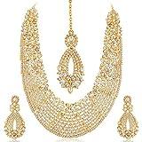Sukkhi Gold Plated Australian Diamond Choker Necklace With Drop Earring & Mangtika Jewellery Set For Women