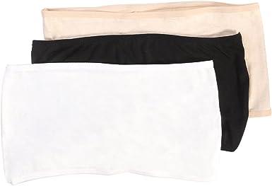 3 x Women/'s Ladies Soft Elastic Strapless Bandeau Tube Tops No Pad Chest Wraps