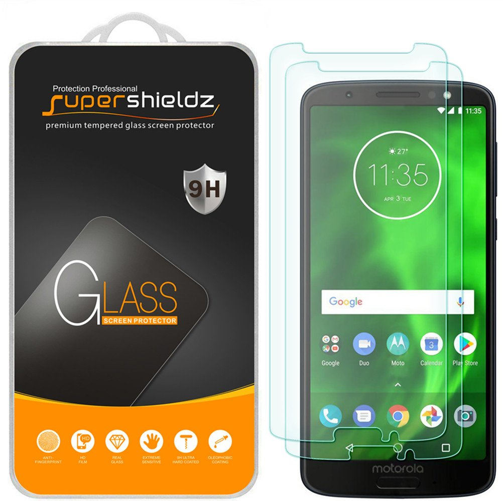 [2-Pack] Supershieldz for Motorola Moto G6 Tempered Glass Screen Protector, Anti-Scratch, Bubble Free, Lifetime Replacement Warranty 4336690790
