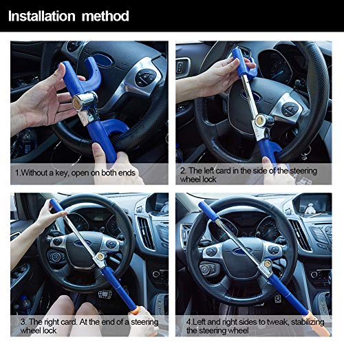 Blueshyhall Anti Theft Device Car Steering Wheel Lock Antitheft Lock Security Lock, Blue and Yellow by Blueshyhall (Image #4)