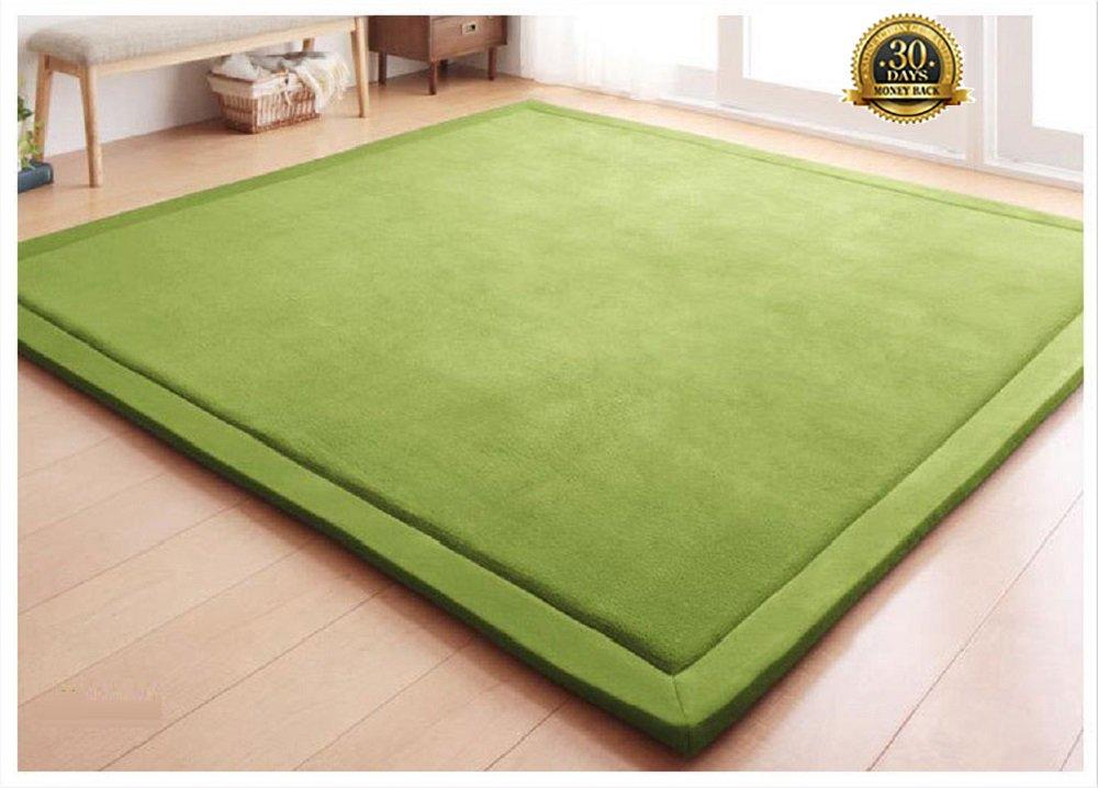 HIGOGOGO Thickness:2cm Coral Velvet Mat, Handmade weaving Plush Foam Bedroom Mat Area Rug Yoga Mat, 75 by 94 inch Reversible Living Room Carpet/Children Crawling Mat