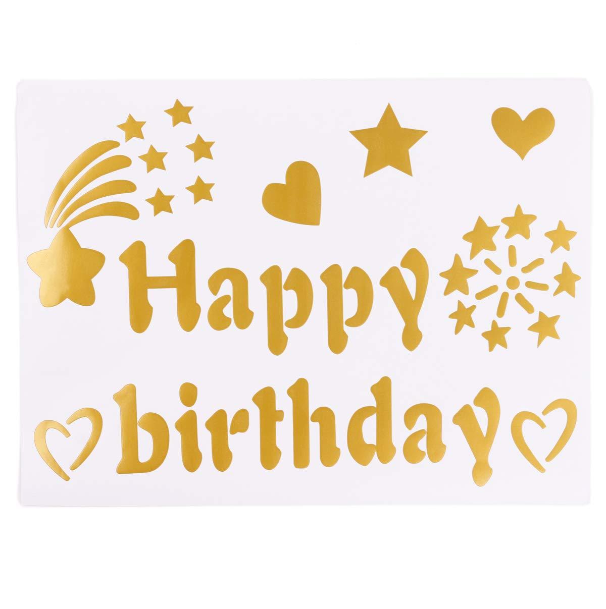Happy Birthday Star Gold Eanjia Happy Birthday Gold Vinyl Letter Sticker for Balloon Decor Suitable Applying on Latex Balloon,Bubble Balloon 1 Sheet