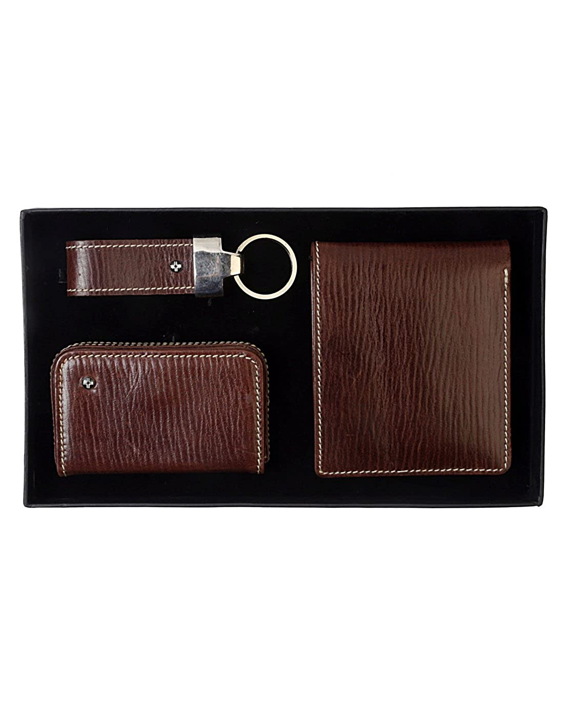 Pack of 3 JL Collections Brown Mens Leather Gift Sets