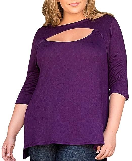Blusas Tallas Grandes Mujer Verano Camisetas Tops Cuello Redondo Camisas Tunicas Fiesta Mitad Mangas Camisas Moda