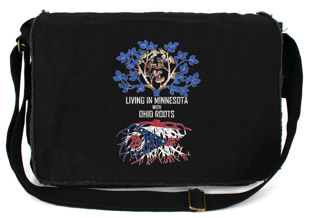 Tenacitee Living In Minnesota with Ohio Roots Grey Brushed Canvas Messenger Bag