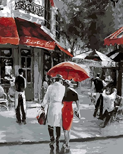 Paint by numbers kit, wooden framed, DIY oil painting - Urban everyday life (16x20 inch.) by HouseArt