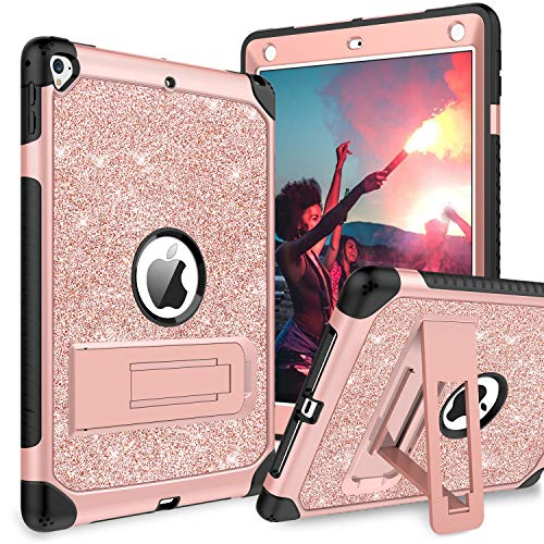 BENTOBEN Case for iPad Air 2/iPad 9.7 2017/2018/Pro 9.7, iPad 5th/6th Generation Case, Glitter 3Layer Full Body Protective Kickstand Durable Leather Shockproof Girls Women Kids Tablet Cover, Rose Gold (Cases For Girls Ipad 2)