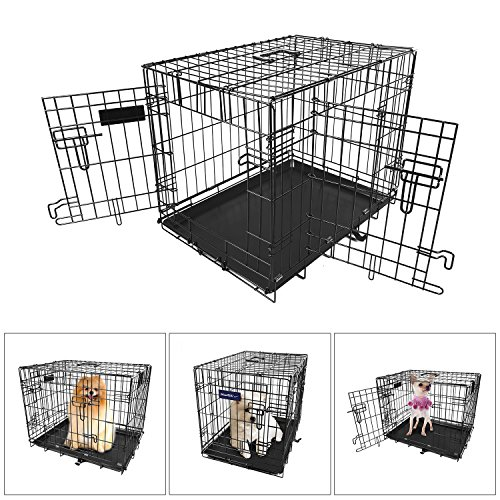 ?XS 18 INCH?iMounTEK Folding Metal Pet Dog Puppy Cat Cage Crate Kennel W/ Tray. 1 Door Wire Cage For Training, Removable & Washable Pan Tray [Rust Resistant] Quick Assembly!