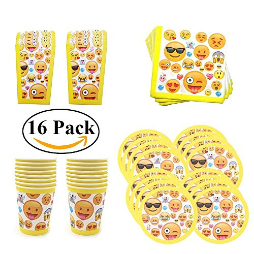 Emoji-Party-Supplies-Favors-for-Birthday-Christmas-Pack-of-16-Plates-Cups-Napkins-and-Popcorn-Box