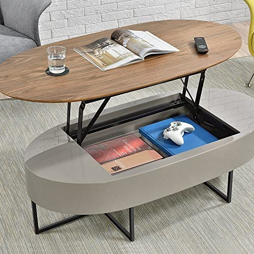 New Pacific Direct Hansel Lift-Top Oval Coffee Table, Walnut Gray