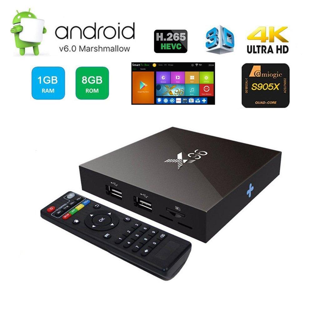 Buluno X96 Android 6.0 Marshmallow Box, 1G/8G Amlogic S905X Quad Core 4K HDMI 2.4G WIFI Smart Box with Remote Control