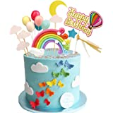 Rainbow Birthday Cake Topper Party Supplies with Rainbow Clouds Balloons Happy Birthday Cake Decorations for Rainbow…