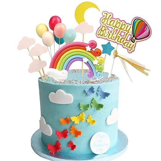 Decoración para tarta de cumpleaños arcoíris con nubes de ...