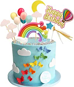 Rainbow Birthday Cake Topper Party Supplies with Rainbow Clouds Balloons Happy Birthday Cake Decorations for Rainbow Theme Party Baby Shower Wedding