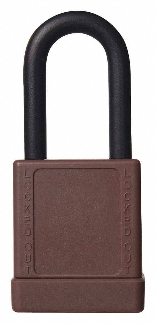 Brown Lockout Padlock, Alike Key Type, Aluminum Body Material, 6 PK