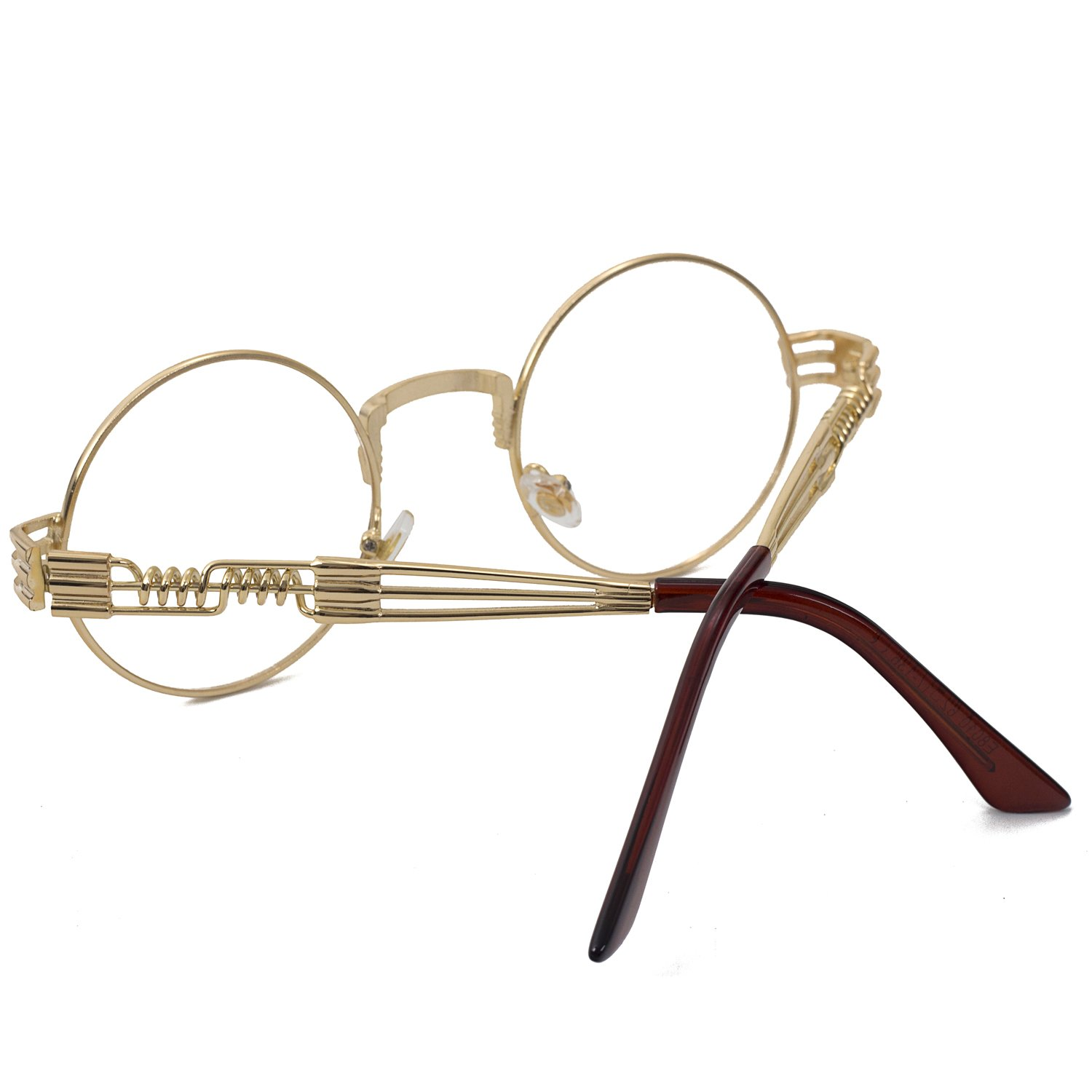 Pro Acme John Lennon Metal Spring Frame Round Steampunk Clear Lens Glasses (Gold Frame/Clear Lens) by Pro Acme (Image #4)