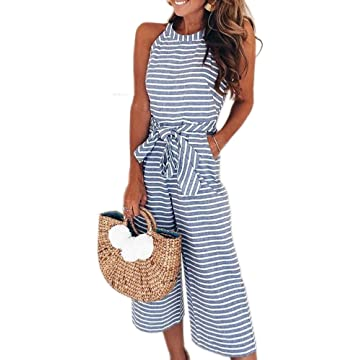 abd216a58c PRETTYGARDEN 2019 Women s Striped Sleeveless Waist Belted Zipper Back Wide  Leg Loose Jumpsuit Romper with Pockets