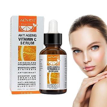 Sérum de vitamina C, suero hidratante orgánico puro y natural antienvejecimiento con ácido hialurónico,