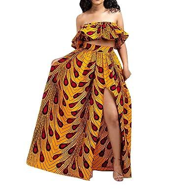 ALISIAM Moda Mujer Blusa sin Mangas de impresión Africana Tenedor ...