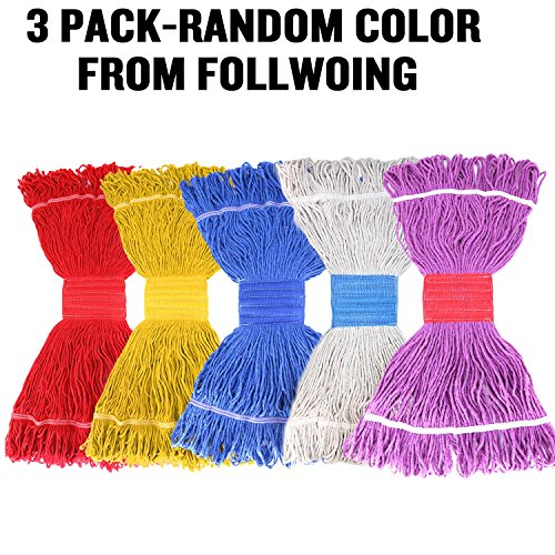 (String Mop Head Fit O-Cedar Rubbermaid Heavy Duty Loop-End String Mop Refills Super Stitch Blend Large Mop Heads Replacement (3 Pack-Random Color))