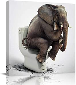 Square Canvas Wall Art Oil Painting for Bedroom Living Room Office Home Decoration,Funny Elephant Sitting on The Toilet Animal Pattern Artworks,Stretched by Wooden Frame,Ready to Hang,16x16 Inch