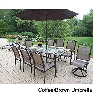 Oakland Living Corporation Aluminum Sling 14 Pc Dining Set 6 stackable Chairs, 2 Swivel Rockers, 2 Chaise lounges, 1 end table, Umbrella and Stand