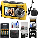 Bell & Howell 2VIEW18 HD Dual Screen Waterproof Digital Camera (Yellow) 32GB Card + Batteries & Charger + Case + Monopod Selfie Stick + Kit