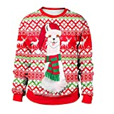 Inkach Ugly Christmas Sweatshirt | Women's Alpaca Printed Long Sleeve Pullover Tops Blouse Shirts Warm Outwear (XL, Red)