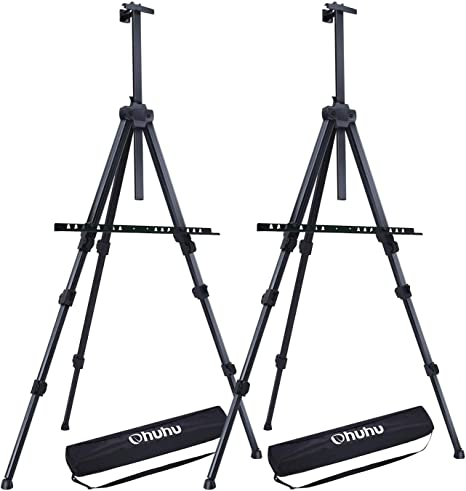 Ohuhu 4-Pack 66 Tall Lightweight Aluminum Field Easel Back to School Art Supplies Free Bag Great for Table-Top or Floor Use