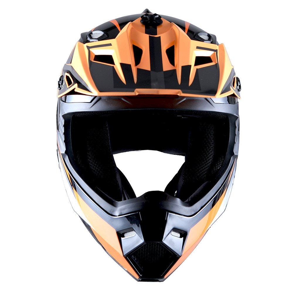 1Storm Adult Motocross Helmet BMX MX ATV Dirt Bike Helmet Racing Style Glossy Orange; + Goggles + Skeleton Orange Glove Bundle by 1Storm (Image #4)
