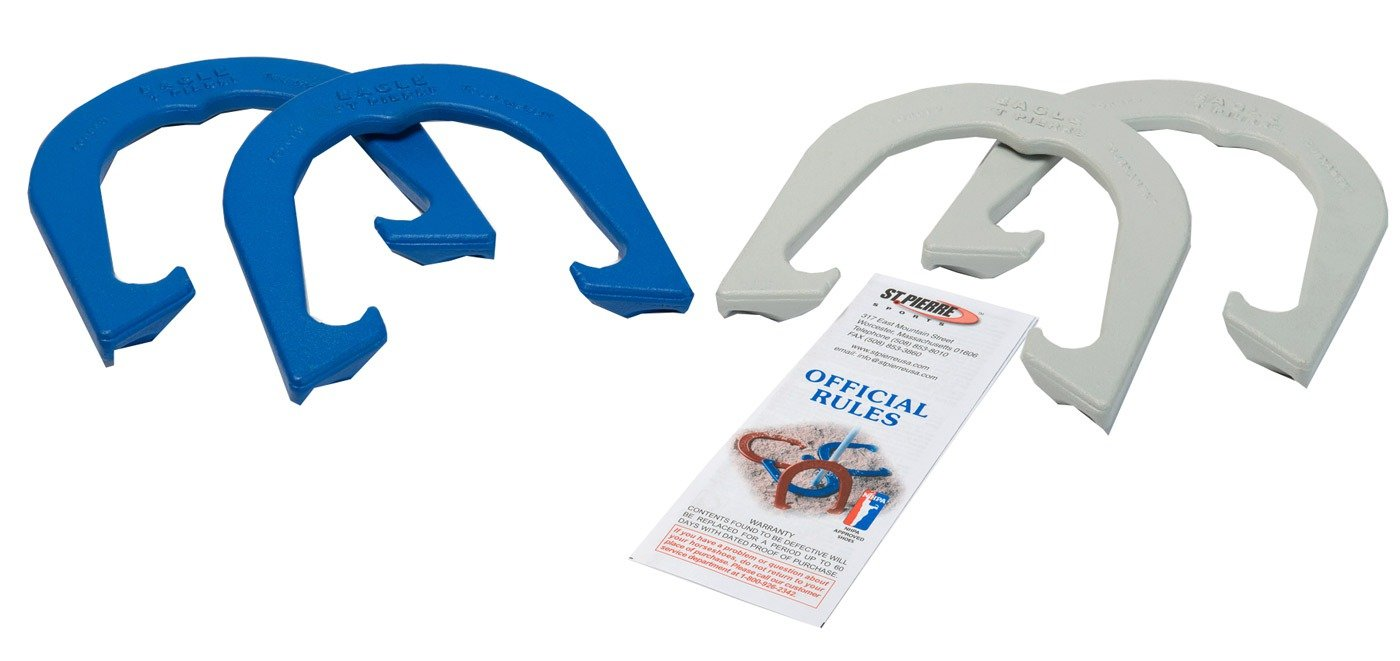 St Pierre Sports Eagle Tournament Horseshoe Set, Blue/Gray