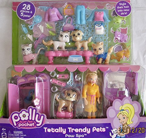 (POLLY POCKET Totally Trendy Pets PAW SPA Playset w 28 PIECES & 5 PETS! (2006))