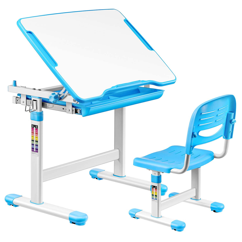 kealive Adjustable Kids Desk Height Adjustable Children Desk and Chair Set with Drawer, Kids Interactive Workstation, Tilting Desktop and Ergonomic Design for Kids Boys Girls to Learn, Paint, Blue by kealive
