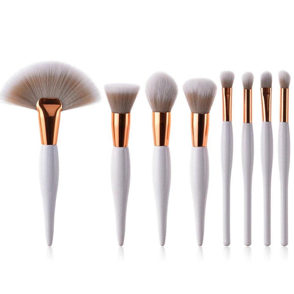 8 Pcs Makeup Brushes Set Powder Foundation Highlighter Kabuki Contour Eyeshadow Eyeliner Fan Bronzer Lip Brush Kit (White Gold) None