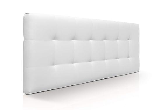 SUENOSZZZ - Cabecero de Cama 100x57 cm CANADÁ, para Camas de 90 | Cabezal Madera Acolchado tapizado en Polipiel Color Blanco