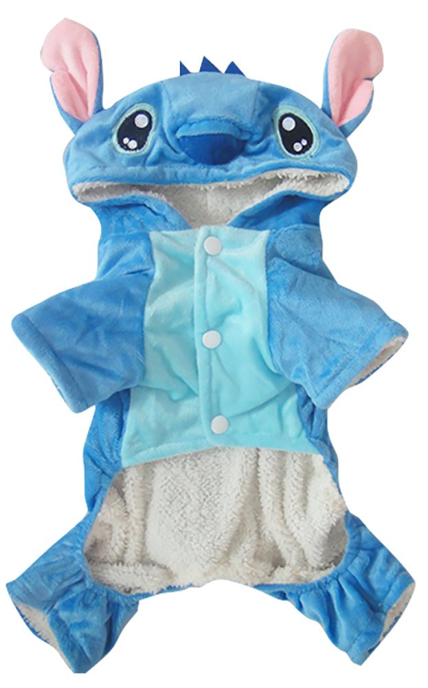 Woo Woo Pets Winter Warm Adorable Dogs Clothes for Halloween Cute Stitch Pet Costumes Christmas Blue M