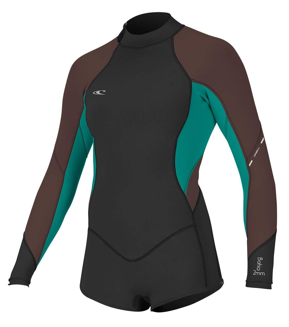 O'Neill Women's Bahia 2/1mm Back Zip Long Sleeve Short Spring Wetsuit, Black/Capri/Pepper, 4