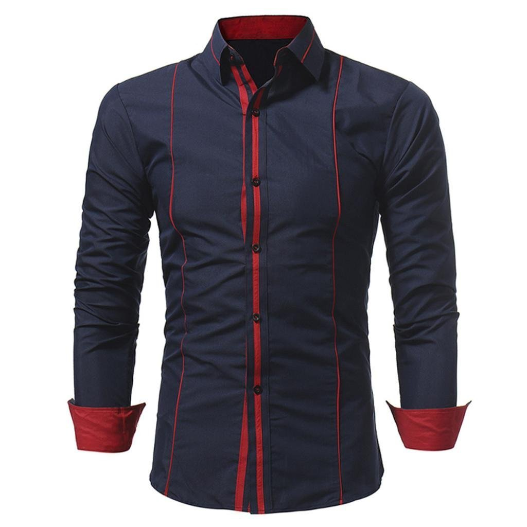 Ximandi Men Slim Fit Shirt Solid Long Sleeve British Style Striped Men's Shirts