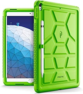 iPad Air 3 Case (10.5 Inch, 2019), iPad Pro 10.5 Case, Poetic Heavy Duty Shockproof Kids Friendly Silicone Case Cover with Apple Pencil Holder, Corner Protection, Sound-Amplification Feature Green