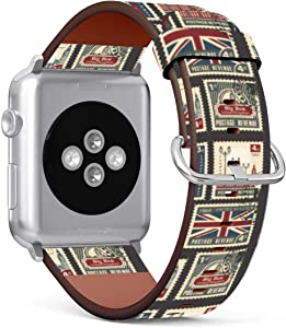 Replacement Leather Strap Printing Wristbands Compatible with Apple Watch Series 5/4 / 3/2 / 1 (42mm / 44mm) - Stamps with Union Jack, Parliament, Big Ben London