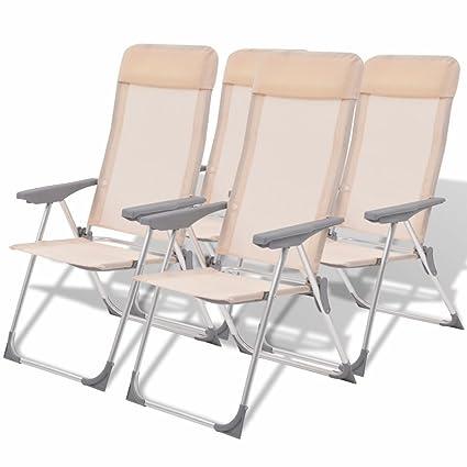 Etonnant OutdoorGood 4 Pcs Textilene Reclining Folding Chairs, Sun Lounger Beach  Garden Or Camping, Cream
