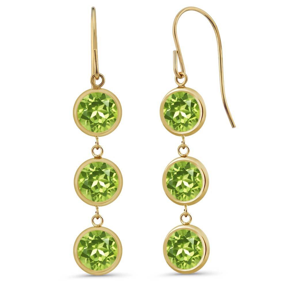 3.60 Ct 3 Round Green Peridot Stones 14K Yellow Gold Bezel 1'' Dangle Earrings