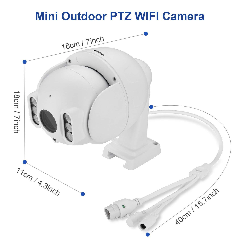 Telecamera PTZ esterna Messa a fuoco automatica Zoom ottico 4X Crystal Full HD 1080P Bianco Scheda di memoria preinstallata da 32GB Dericam Telecamera di sicurezza wireless esterna
