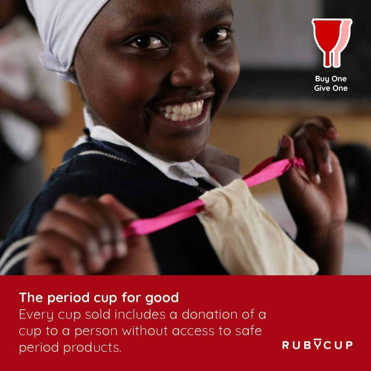 Ruby Cup - Copa menstrual reutilizable hipoalergenica y suave- talla S (pequeña, flujo ligero) – TRANSPARENTE – Incluye donación de copa. Perfecta ...