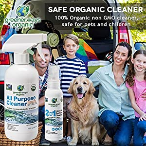 Greenerways Organic Natural USDA Organic All Purpose Cleaner for Home, Glass, Kitchen, Bathrooms, Windows, Safe Organic Cleaner, Best Organic Cleaner - 2-PACK DEAL - (1) 16oz (1) 2oz - MSRP $17.98