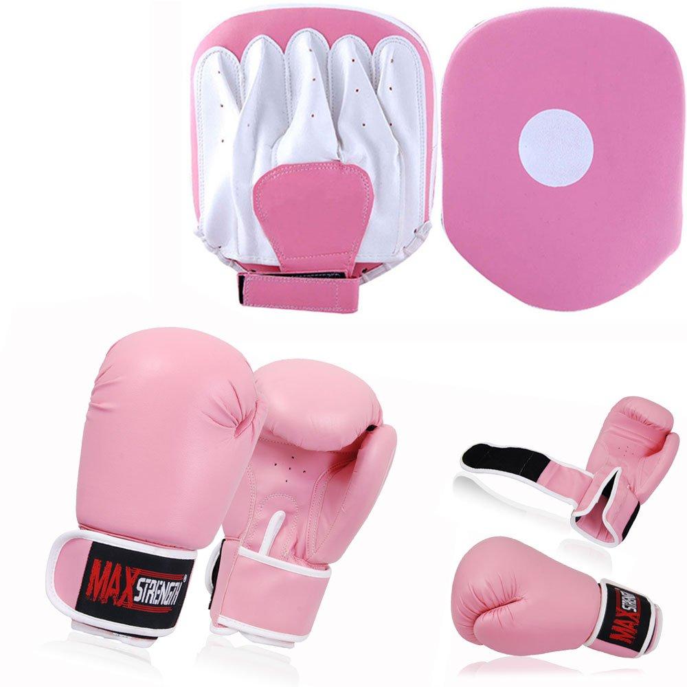 PINK BOXING GLOVES MUAY THAI PUNCH BAG SPARRING KICKBOXING MMA JAB HOOK TRAINING