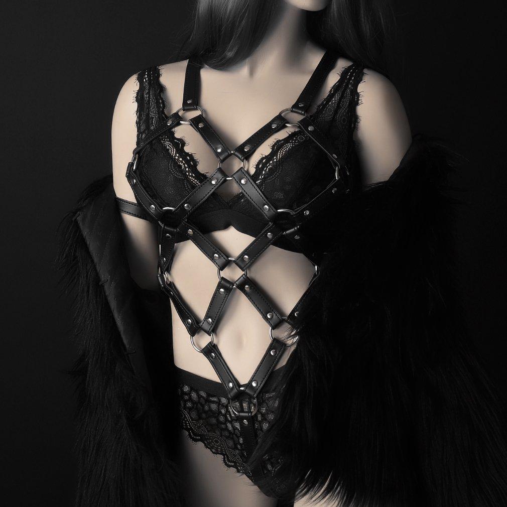 PETMHS Leather Body Harness Black Belt Women Cage Bra Hollow Out Lingerie Goth Punk Adjust Crop Top